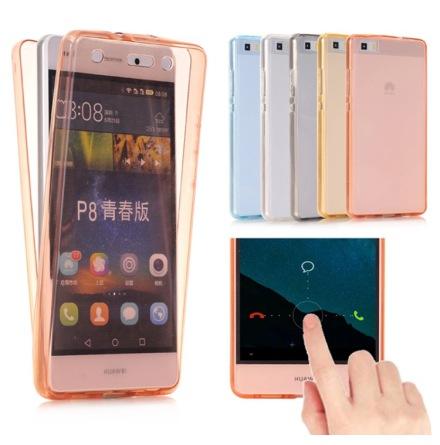 Huawei P8 Lite (2017) - Dubbelsidigt Silikonfodral med TOUCHFUNKTION