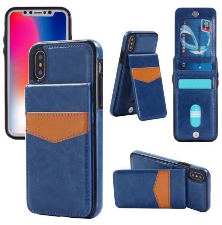 iPhone X/XS - LEMANS Läderskal med Plånbok/Kortfack