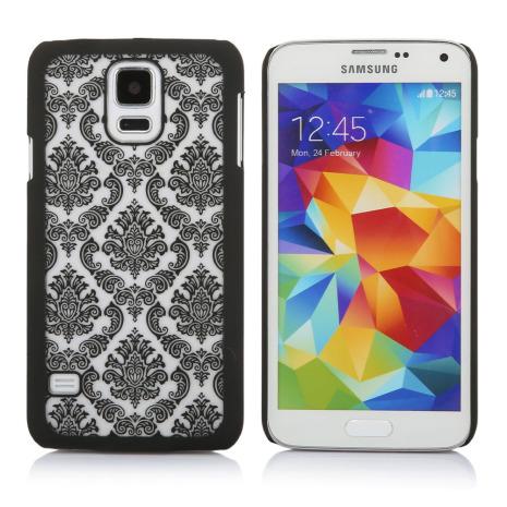Samsung Galaxy S5 - Stilrent Retroskal VINTAGE FLOWER (SVART)