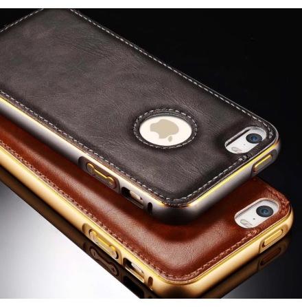 iPhone 6/6S - Stilrent Läderskal från LEMAN med ram i Aluminium