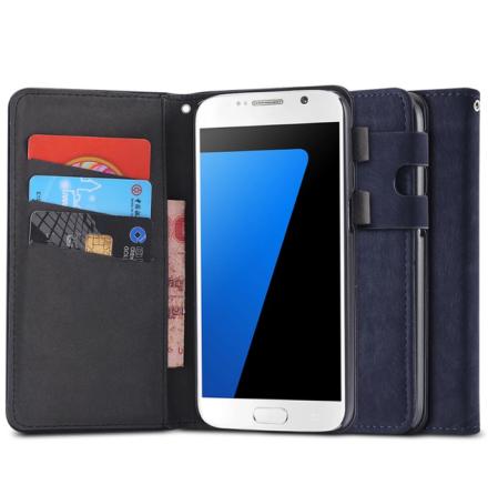 Samsung Galaxy S6 Edge - Praktiskt Plånboksfodral i lent läder