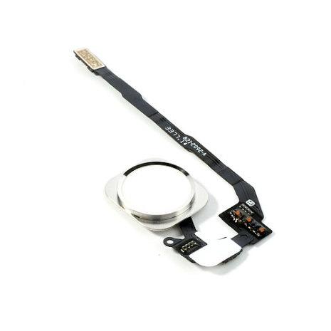 iPhone 5S Hemknapp, komplett med ring och flex - Vit/Silver