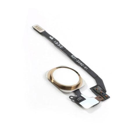 iPhone 5S - Hemknapp komplett med ring och flexkabel (Vit/Guld)