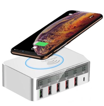100W Multi USB Fast PD Trådlös Snabbladdnings Hub