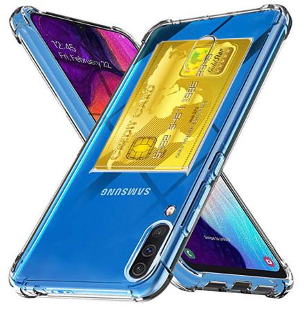 Samsung Galaxy A70 - Stötdämpande Silikonskal med Korthållare