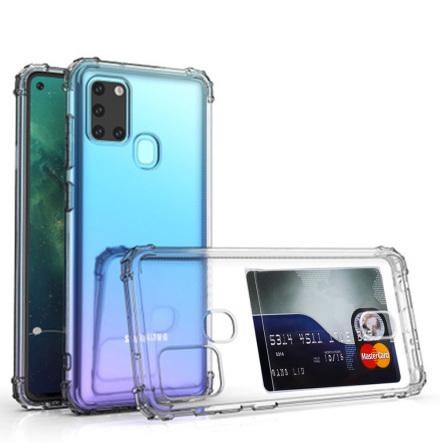 Samsung Galaxy A21S - Genomtänkt Skyddsskal med Korthållare