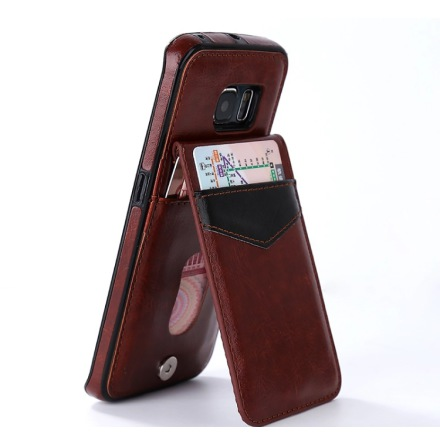 Samsung Galaxy S7 Edge - LEMANS Läderskal med Plånbok/Kortfack