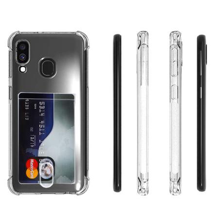 Samsung Galaxy A40 - Stöttåligt Silikonskal med Korthållare