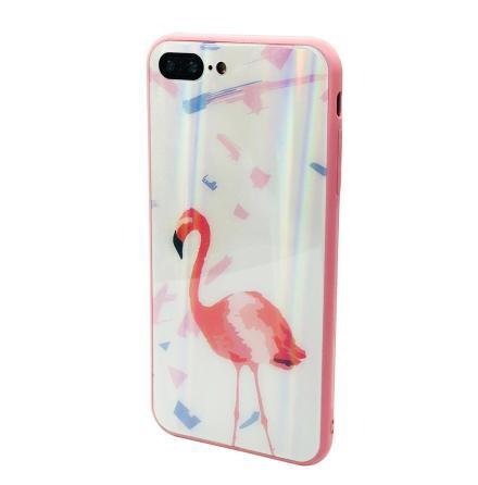 Elegant Skyddskal för iPhone SE 2020 (Härdat glas) Flamingo