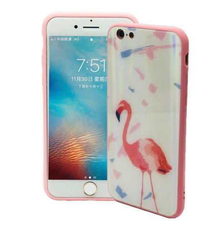 Elegant Skyddskal för iPhone 6/6S (Härdat glas) Flamingo