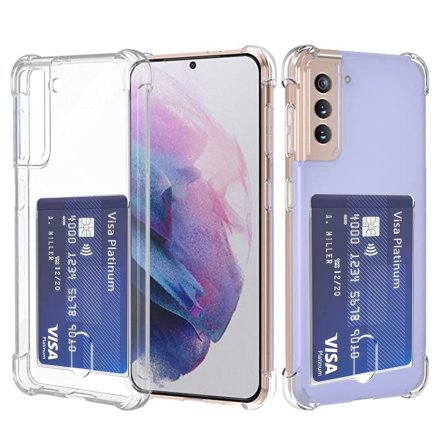 Samsung Galaxy S21 - Praktiskt Skyddande Skal med Korthållare