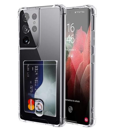 Samsung Galaxy S21 Ultra - Stilrent Skyddsskal med Korthållare