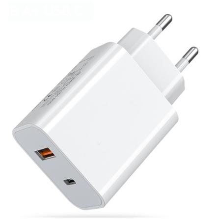 20W Dual USB/Type-C Port Snabbladdnings Väggadapter