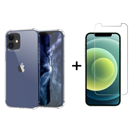 iPhone 12 - Stötdämpande Silikonskal+Skärmskydd (Tjocka Hörn)