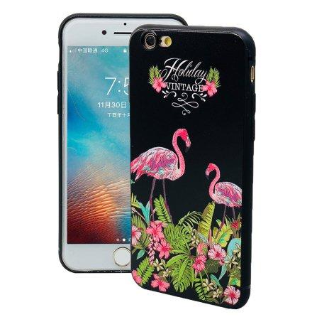 Black Flamingo - Retroskal av silikon för iPhone 6/6S Plus