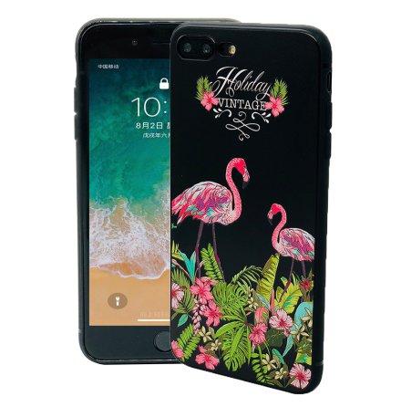 Black Flamingo - Retroskal av silikon för iPhone 8 Plus