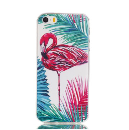 Palm Flamingo - Retroskal av silikon för iPhone 5/5S/SE