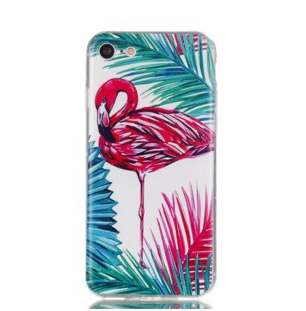 Palm Flamingo - Retroskal av silikon för iPhone 8 Plus