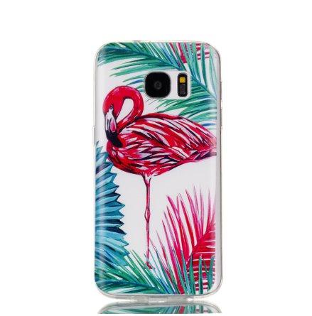 Palm Flamingo - Retroskal av silikon för Samsung Galaxy S7 Edge