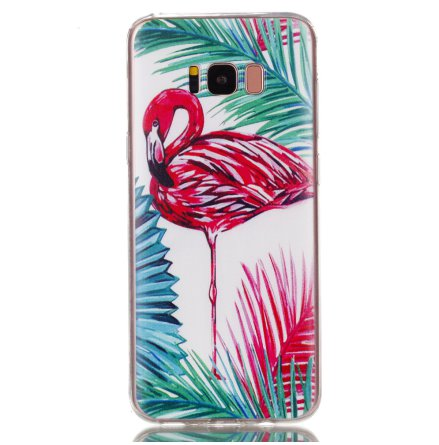 Palm Flamingo - Retroskal av silikon för Samsung Galaxy S8 Plus