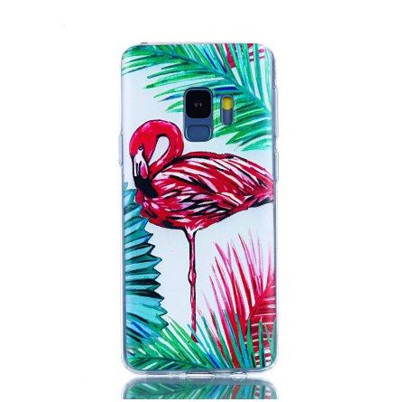 Palm Flamingo - Retroskal av silikon för Samsung Galaxy S9