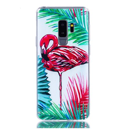 Palm Flamingo - Retroskal av silikon för Samsung Galaxy S9 Plus