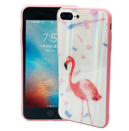 Elegant Skyddskal för iPhone 8 Plus (Härdat glas) Flamingo
