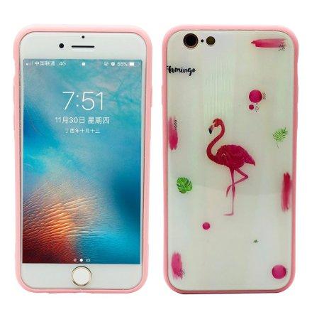 Elegant Skyddskal till iPhone 6/6S (Härdat glas) Flamingo