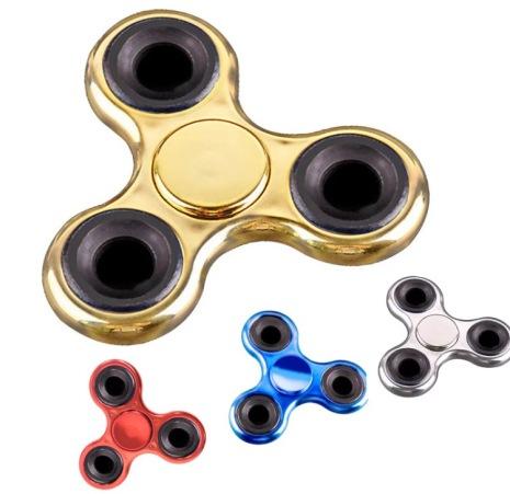 Fidget Spinner krompläterad Tri-Spinner (Lång spinntid)