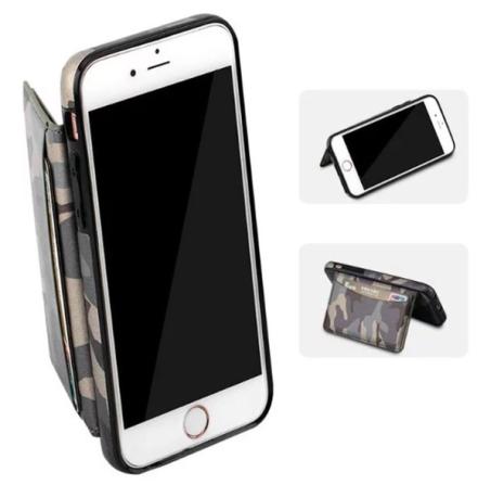 Praktiskt militär mönstrat plånboksskal till iPhone 6/6S