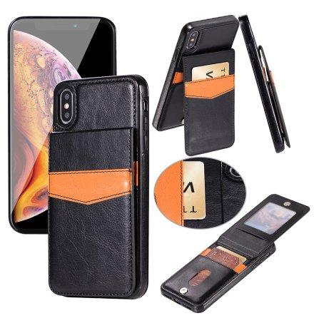 iPhone XR - LEMAN Läderskal med Plånbok/Kortfack