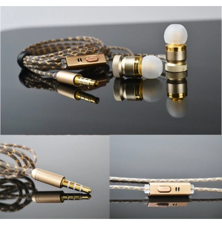 TOMKAS In-ear Metallic Earphone med Mic In-line Control