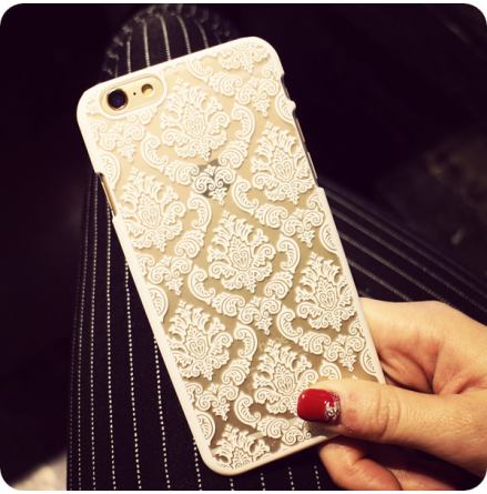 "iPhone 6 plus/6S plus skal ""Vintage flower"" (VIT)"