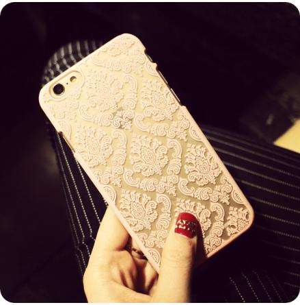 "iPhone 6 plus/6S plus skal ""vintage flower"", färg CHAMPAGNE/GULD"