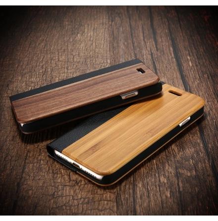 iPhone 6/6S - Exklusivt Plånboksfodral i äkta Bambu-Trä