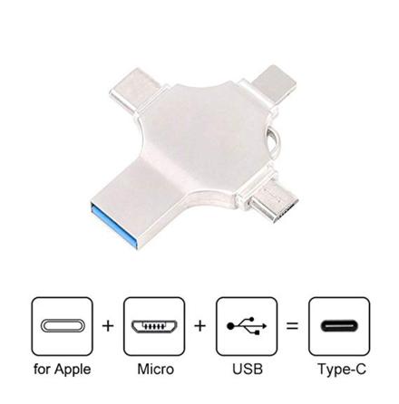 4 i 1 Flash USB-minne (Lightning/Type-C/Micro-USB) 256Gb