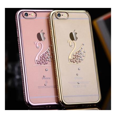 iPhone 6/6S Plus - RHINESTONE Stilrent silikonskal (Svanmotiv)