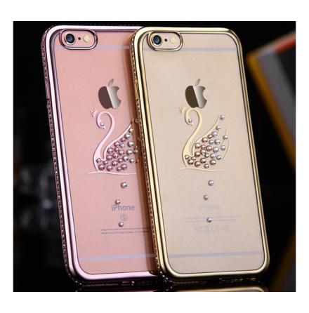 iPhone 7 Plus - RHINESTONE Stilrent silikonskal (Svanmotiv)