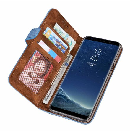 Plånboksfodral i Retrodesign från LEMAN till Samsung S10 Plus