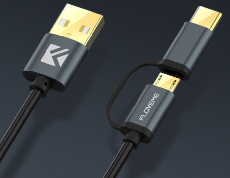 FLOVEME's smarta 2 i 1 USB-kabel Type-C/Micro-USB (ORIGINAL)