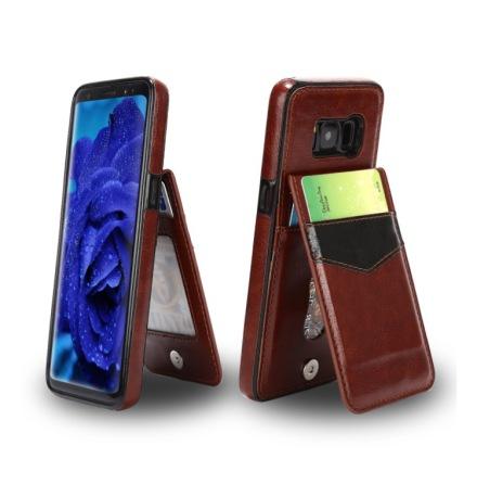 Samsung Galaxy S8+ - LEMANS Läderskal med Plånbok/Kortfack