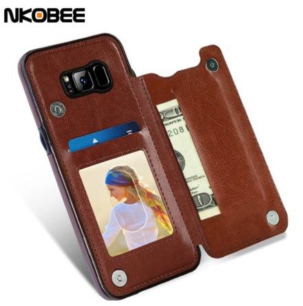 Samsung Galaxy S8 - Praktiskt Läderskal med Plånbok/Kortfack (NKOBEE)
