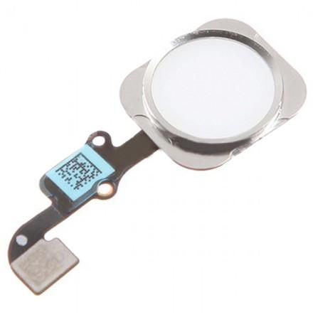 iPhone 6/6plus Hemknapp, komplett med flex (Vit/Silver)
