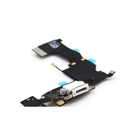 iPhone 5S - Laddkontakt med hörlursuttag och mikrofon VIT