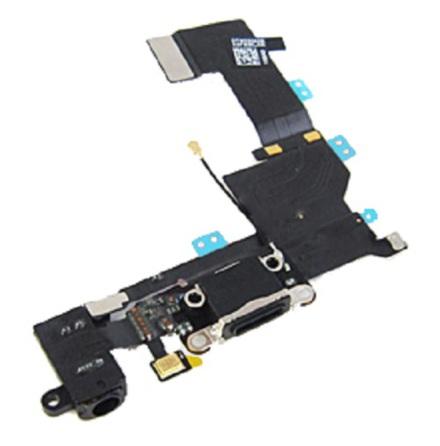 iPhone 5S - Laddkontakt med hörlursuttag och mikrofon SVART