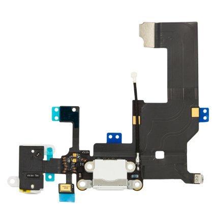 iPhone 5 - Laddkontakt med hörlursuttag och mikrofon VIT