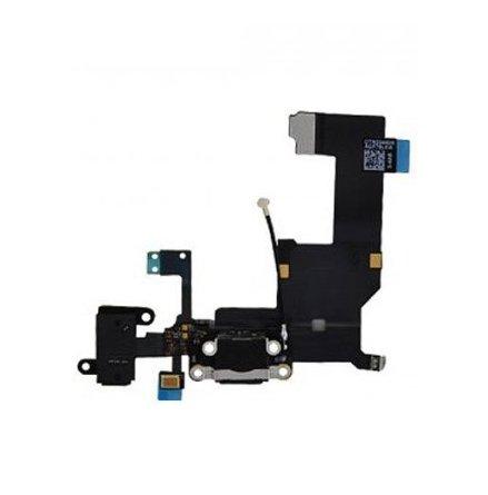 iPhone 5 - Laddkontakt med hörlursuttag och mikrofon SVART