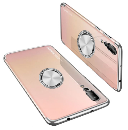 Huawei P20 Pro - Skyddande Silikonskal med Ringhållare