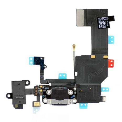 iPhone 5C - Laddkontakt med hörlursuttag och mikrofon SVART