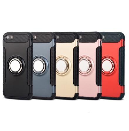 iPhone 5/5S/5SE- HYBRID Carbon skal med Ringhållare från FLOVEME